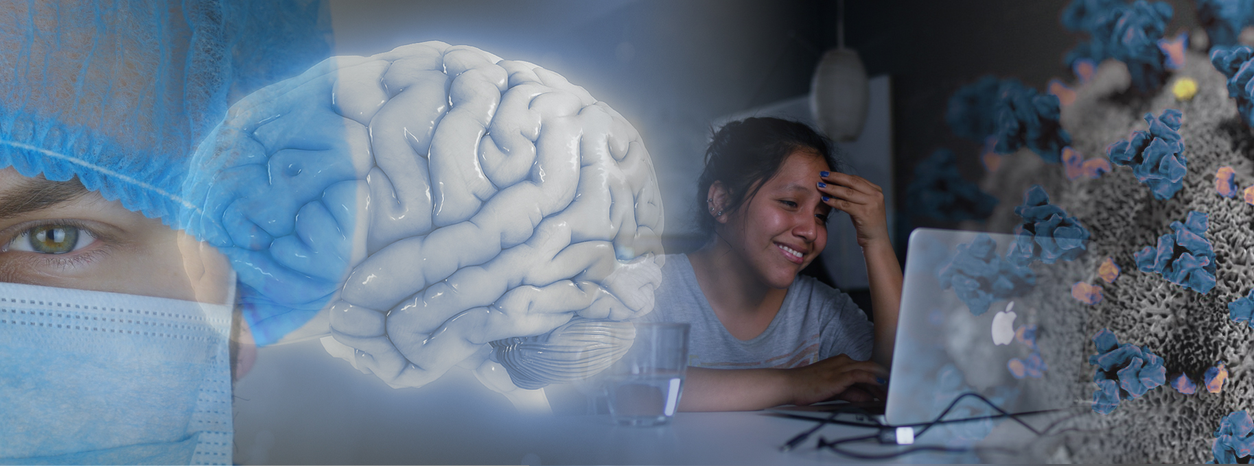 A banner featuring a physician wearing a protective mask, a woman using a computer for a remote therapy session, a 3D model of a brain, and a corona virus